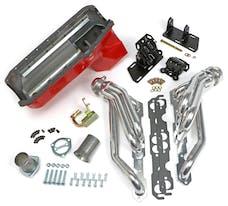 Trans Dapt Performance 99065 Chevy V8 into 2WD S10/S15 Engine Swap Kit; HTC COATED Headers- ANGLE PLUG Heads