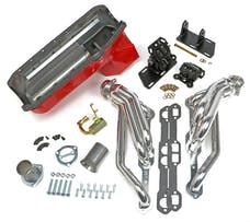 Trans Dapt Performance 99066 Chevy V8 into 2WD S10/S15 Engine Swap Kit; HTC COATED Headers- D-PORT Heads
