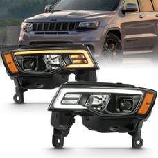 AnzoUSA 111418 Projector Headlights with Plank Style Switchback Black with Amber