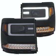 AnzoUSA 111375 Projector Headlights with Plank Style Design Black- Amber Sequential Turn Signal