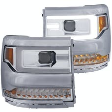 AnzoUSA 111376 Projector Headlights with Plank Style Design Chrome Amber Sequential Turn Signal