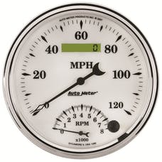 AutoMeter Products 1290 GAUGE; TACH/SPEEDO; 5in.; 120MPH/8K RPM; ELEC. PROGRAM; OLD TYME WHITE II