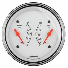 """AutoMeter Products 1324 3-3/8"""" Dual, Fuel Level, 0-90, Oil Press, 0-100, Arctic White"""