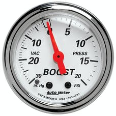 AutoMeter Products 1372 Gauge; Vac/Boost; 2 1/16in.; 30inHg-20psi; Mechanical; Arctic White