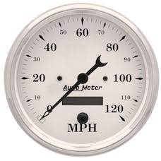AutoMeter Products 1689 Gauge; Speedo.; 5in.; 120mph; Elec. Prog. w/LCD Odo; Old Tyme White