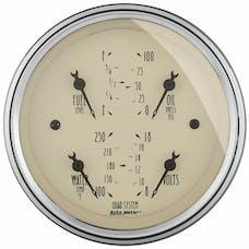AutoMeter Products 1812 Gauge; Quad; 3 3/8in.; 240OE-33OF; Elec; Antique Beige