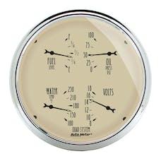 AutoMeter Products 1819 Gauge; Quad; 5in.; 0OE-90OF; Elec; Antique Beige