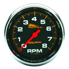 """AutoMeter Products 19304 Tachometer Gauge, Black-Pro Cycle 2 5/8"""", 8K RPM, 2&4 Cylinder"""