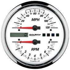 """AutoMeter Products 19467 Tachometer/Speedometer Gauge, White-Pro Cycle 4 1/2"""", 8K RPM/120 MPH"""