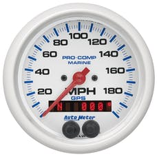 "AutoMeter Products 200639 Marine White Speedometer Gauge 3 3/8"", 200MPH, GPS"
