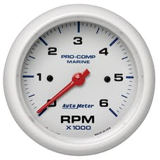 "AutoMeter Products 200752 Tachometer Gauge, Marine White  3 3/8"", 6K RPM"
