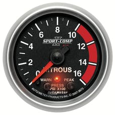 AutoMeter Products 3673 Gauge; Nitrous Press; 2 1/16in.; 1600psi; Stepper Motor w/Peak/Warn; Sport-Comp