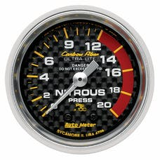 AutoMeter Products 4728 Gauge; Nitrous Pressure; 2 1/16in.; 1600psi; Mechanical; Carbon Fiber