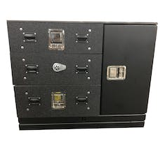 """Cargo Ease CL364032-FI-CC 3 Stacked Lockers 40""""W, 1 Vertical Side Compartment15""""W"""