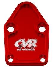 CVR Performance BOP63R Fuel Pump Block-Off Plate – SB Chevy – Red