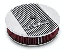 """Edelbrock 4266 Elite 2 Series Polished 14"""" Round Air Cleaner - 3"""" Pro-Flo Element (Deep Flange)"""