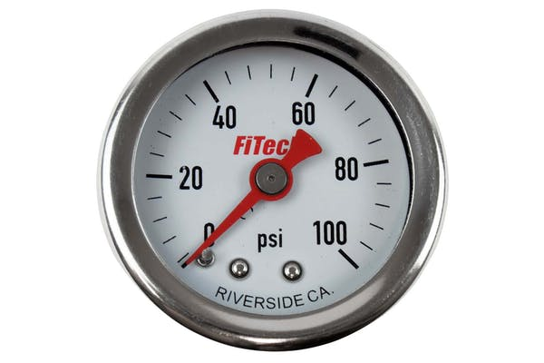 FiTech 80117 High-Quality Oil-Filled Fuel Pressure Gauge (0-100 psi)
