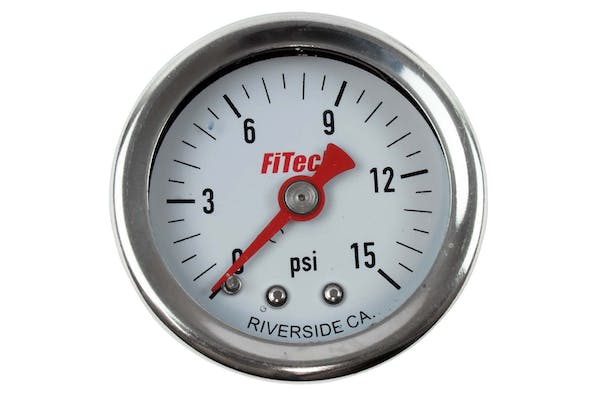 FiTech 80118 High-Quality Oil-Filled Fuel Pressure Gauge (0-15 psi)