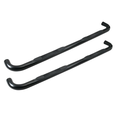 "Iconic Accessories 113-0380 3""W Round Steel Side-Step Nerf Bars (90° Bend, Black Powder Coated)"