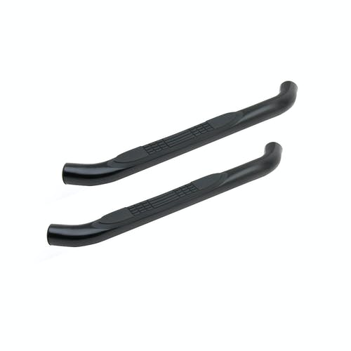 "Iconic Accessories 113-5133 3""W Round Steel Side-Step Nerf Bars (90° Bend, Black Powder Coated)"
