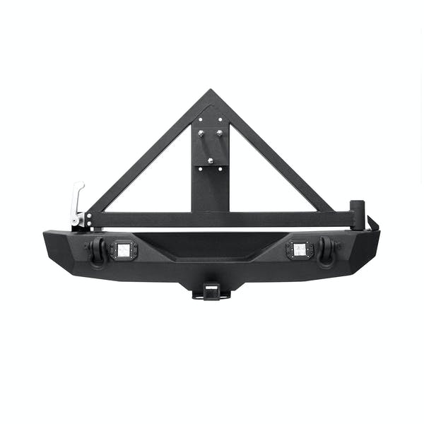 Iconic Accessories 232-5302 Rear Bumper with Hitch & Tire Carrier Textured Black