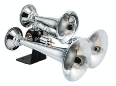 Kleinn Automotive Air Horns 500 Chrome triple train horn with ABS trumpets. Authentic train horn sound