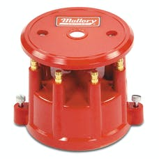 Mallory 208M Mallory Cap, Dist, 8Cyl Screw Down Red