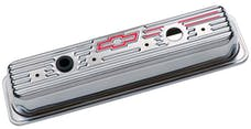 PROFORM 141-105 Engine Valve Covers; Center Bolt Style; Steel; Chrome w/Bowtie Logo; SB Chevy