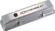 PROFORM 141-108 Engine Valve Covers; Tall Style; Die Cast; Polished with Bowtie Logo; SB Chevy