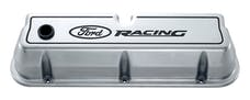 PROFORM 302-001 Engine Valve Covers; Tall Style; Die Cast; Polished with Ford Logo; For SB Ford