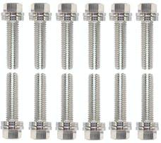 Proform 66755 Wedge-Locking Header Bolts; Hex Head; M8 X 1.181in; Chevy LS; Nickel Plt; 12 Pcs