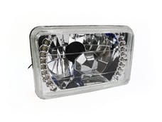 "Race Sport Lighting RS7X6SH4LED-W 7x6"" Diamond Cut H4 Conversion lens with Recessed LED HALO -White (Each)"