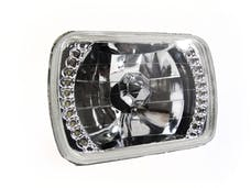 "Race Sport Lighting RS4X6SH4LED-W 4x6"" Diamond Cut H4 Conversion lens with Recessed LED HALO -White each"