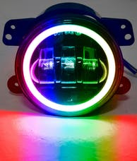 Race Sport Lighting RS162RGB 4in LED Fog Light App Bluetooth Control RGB Halo Angle Eyes White Fog Lamp