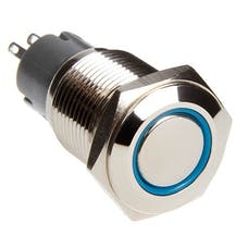 Race Sport Lighting RS-16MM-LEDB LED Momentary Switch (Blue)