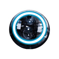 Race Sport Lighting RS-7LEDHLP-HALOWB 7in LED Projector Kit 4x10W w/ White/Blue Halo - Plug-&-Play H4 H/L (Black)