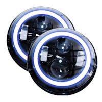 Race Sport Lighting RS-7LEDHLP-HALOWB-PR Jeep Wrangler JK 7in LED Projector Kit 4x10W w/ White/Blue Halo - Plug-& Play H4 H/L (Black)