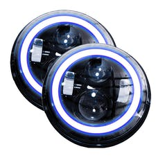 Race Sport Lighting RS-7LEDHLP-HALOWB-PR 7in LED Projector Kit 4x10W w/ White/Blue Halo - Plug-&-Play H4 H/L (Black)