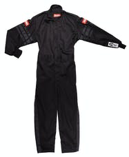 RaceQuip 1959990 SFI-1 Pyrovatex One-Piece Single-Layer Youth Racing Fire Suit (Black/Blue-XXS)
