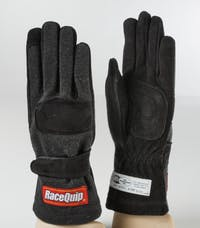 Racequip 3550095 SFI-5 Double-Layer Youth Racing Gloves (Black, Large)