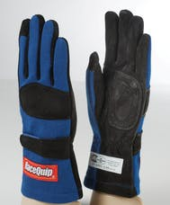 Racequip 355023 SFI-5 Double-Layer Racing Gloves (Blue, Medium)