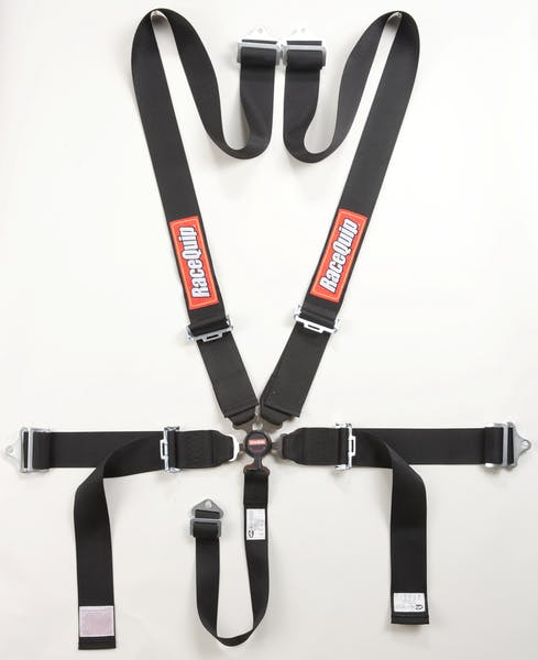 Racequip 741001 Sportsman SFI 16.1 5-Point Camlock Racing Harness Set (Black/Pull-Down)