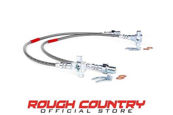 Rough Country 89340S Front Extended Stainless Steel Brake Lines for 4-6-inch Lifts