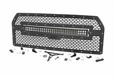 Rough Country 70193 Laser-Cut Mesh Grille w/ 30-inch Black Series Dual Row CREE LED Light Bar