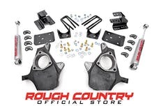 Rough Country 721.20 Front 2-inch / Rear 4-inch Spindle Lowering Kit