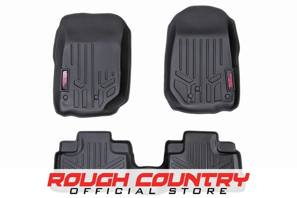 Rough Country M-60712 Heavy Duty Floor Mats - Front & Rear Combo (07-18 JK Unlimited Models)