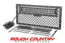 Rough Country 10545 Laser-Cut Mesh Grille w/ 20-inch Black Series Dual Row CREE LED Light Bar