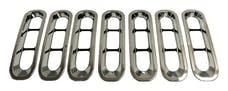 RT Offroad RT26055 7-Piece Chrome Plastic Grille Inserts for Jeep JK Wrangler; Snap-In Pieces