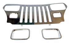 RT Offroad RT34045 Stainless Steel Grille Applique w/ Chrome Bezels for 87-95 Jeep YJ Wrangler