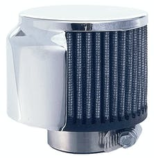 "Trans Dapt Performance 5104 3"" Tall ""CLAMP-ON"" Style Breather w/HOOD; 1-1/2"" Tube; Open Cotton Filter-CHROME"